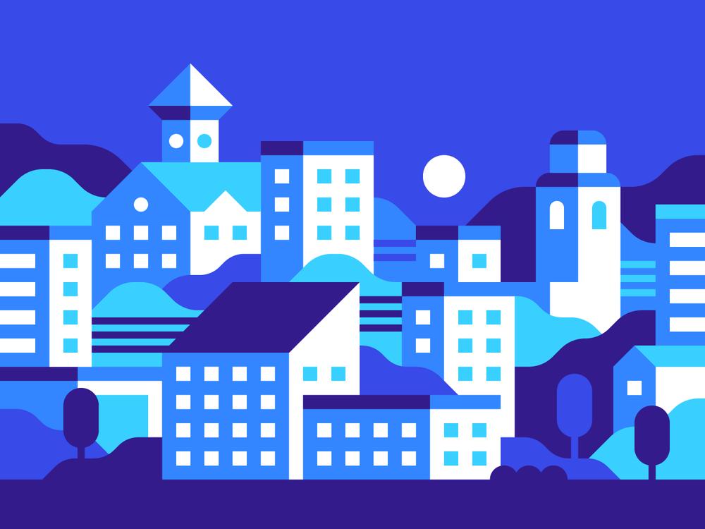 Blue City illustration by Alex Pasquarella