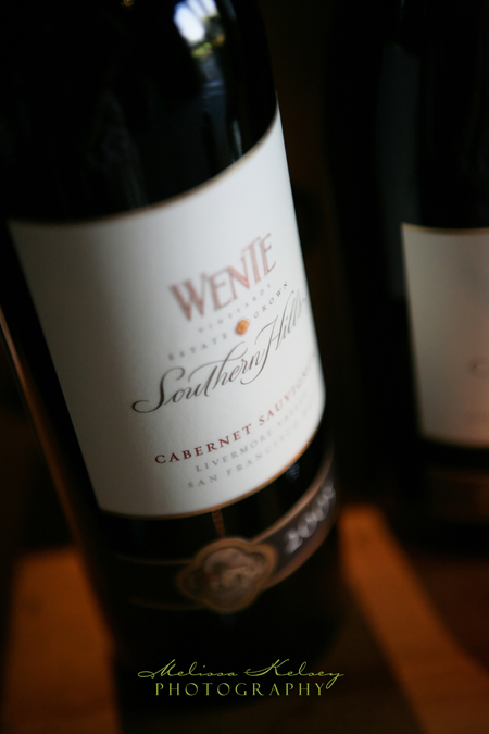 wente vineyards wine bottle at wedding reception