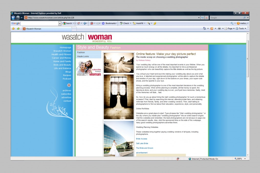 Wasatch Woman Magazine online feature on utah wedding photography