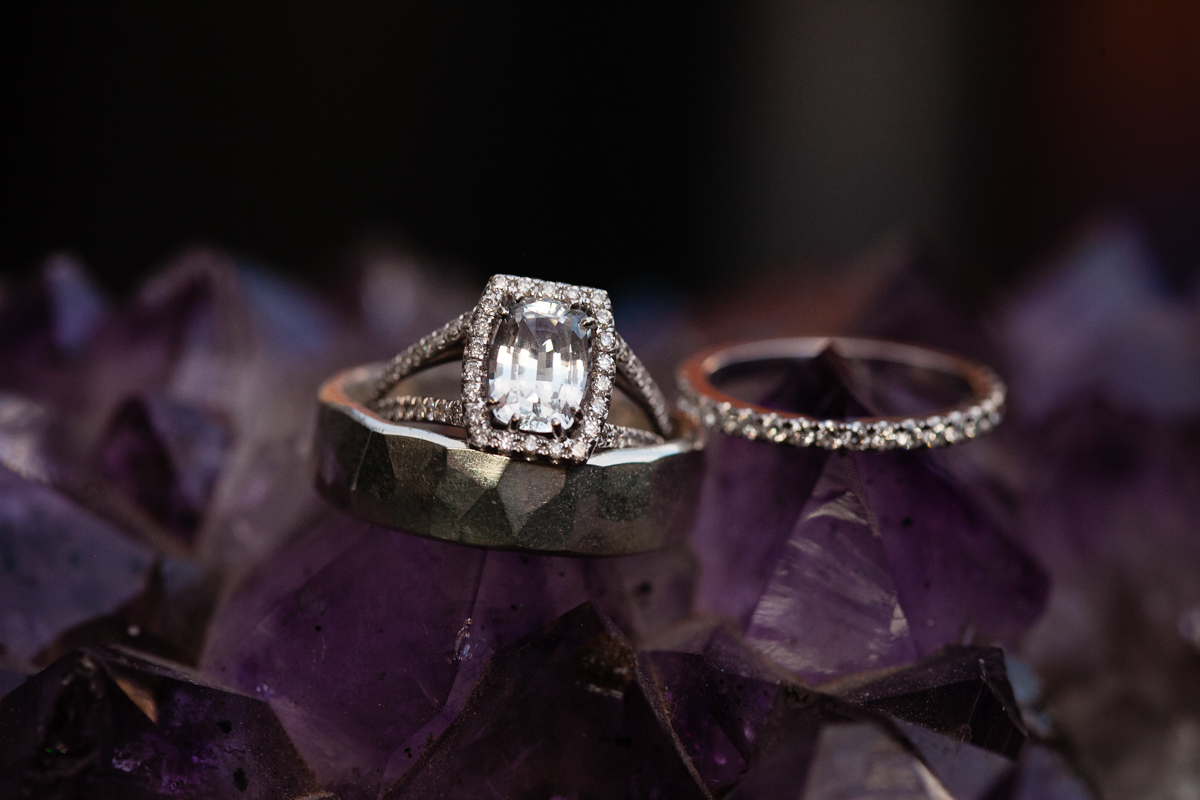 wedding ring on purple geode
