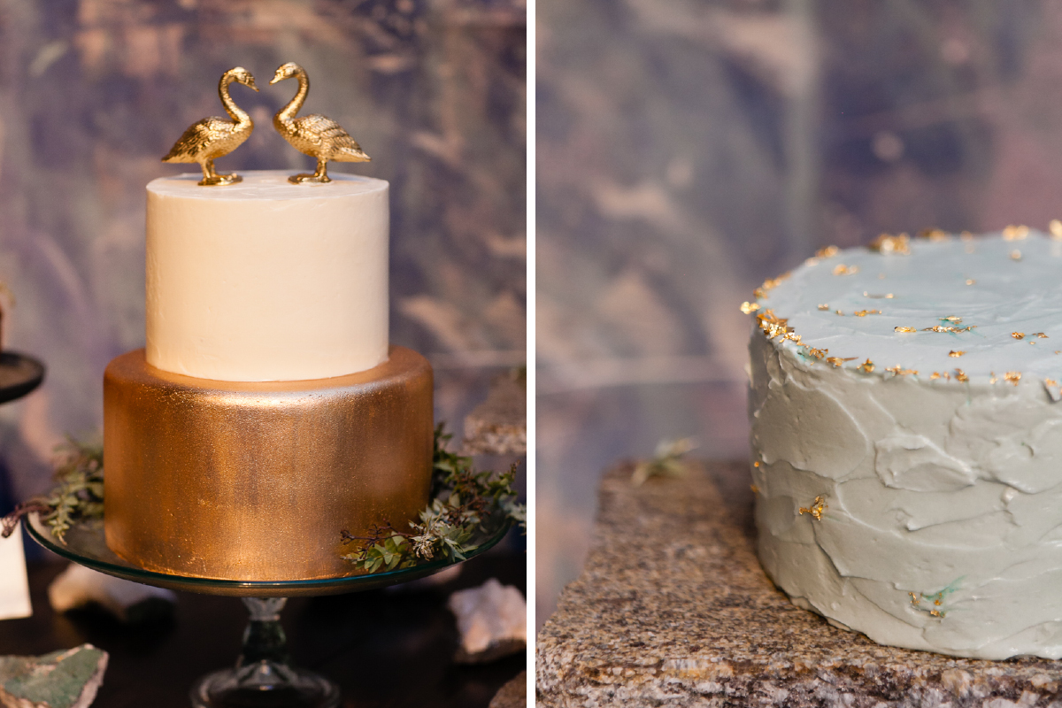 metallic gold leaf wedding cakes-unique cake topper