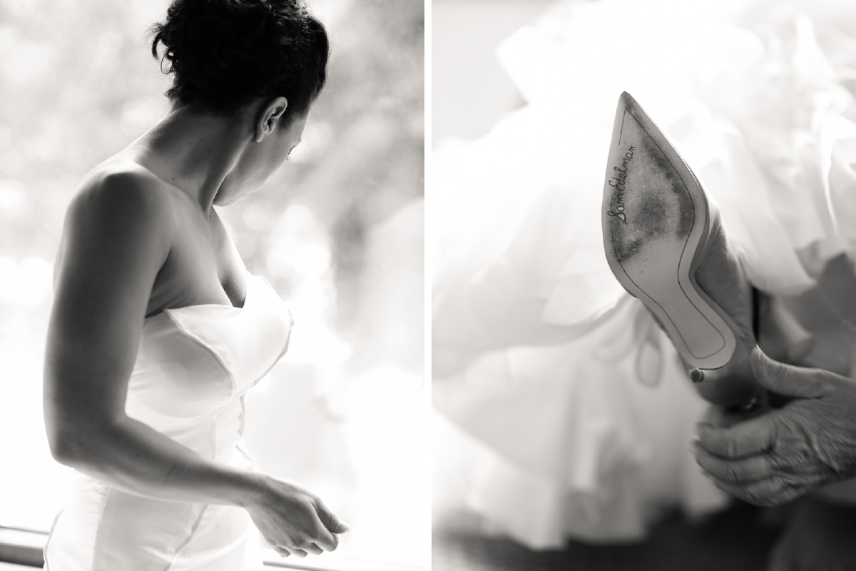custom wedding gown and designer shoes