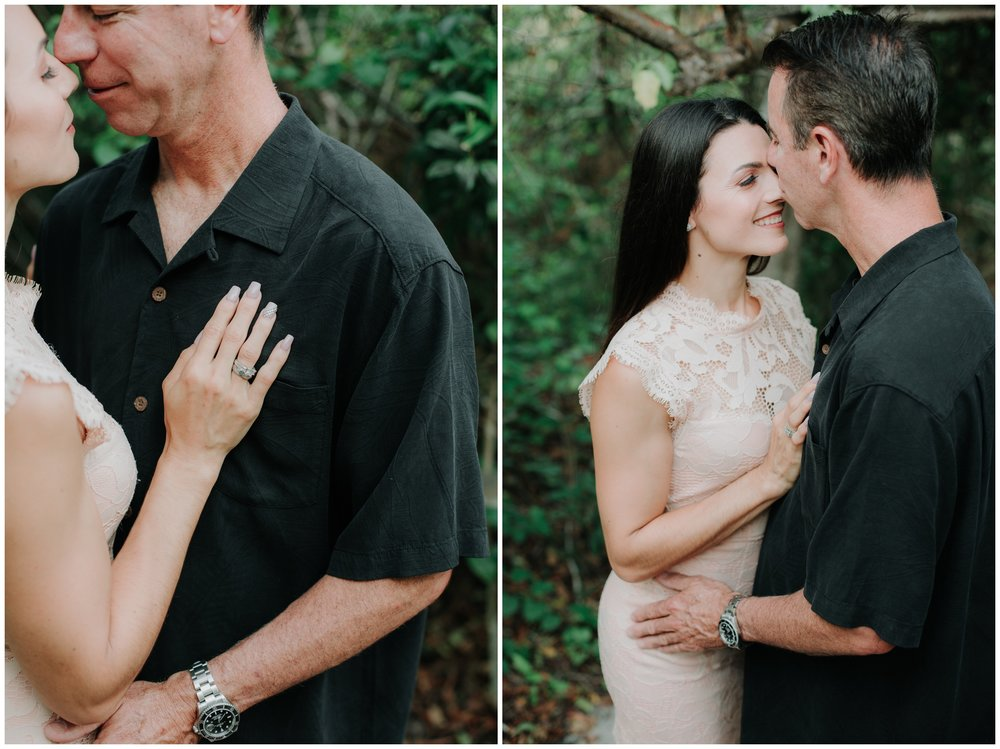 This couple sharing a sweet kiss during their engagement session at Hobe Sound Nature Preserve