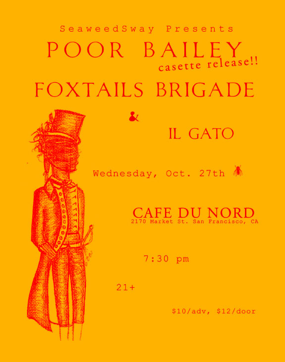 Cafe du Nord Wednesday, October 27th 8:30 PM / $12 ($10 in Advance)