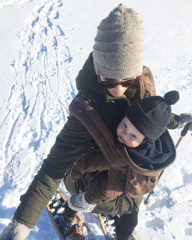 Baby's first snowshoe. #jackfrostchallenge #frostyfacewpg @greenactionctr