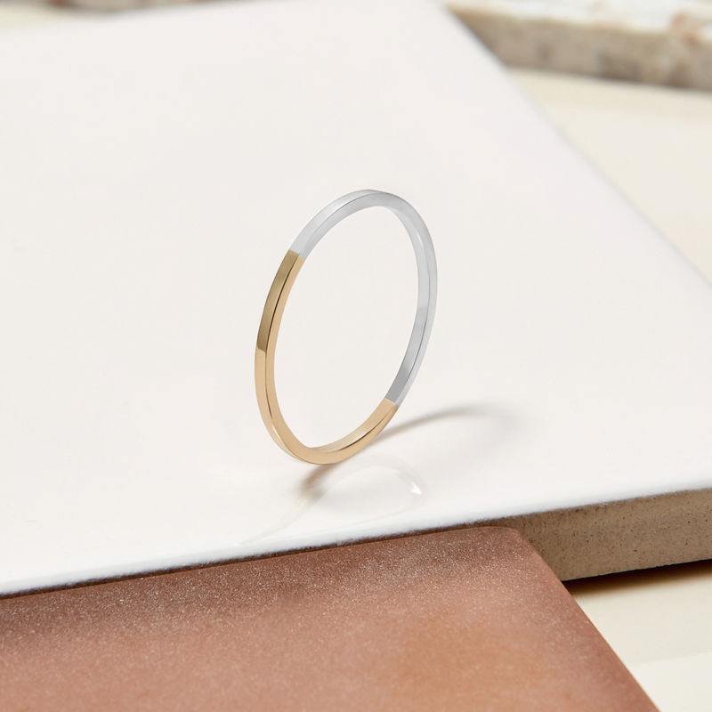 TWO-TONE ULTRA SKINNY STACKING RING -