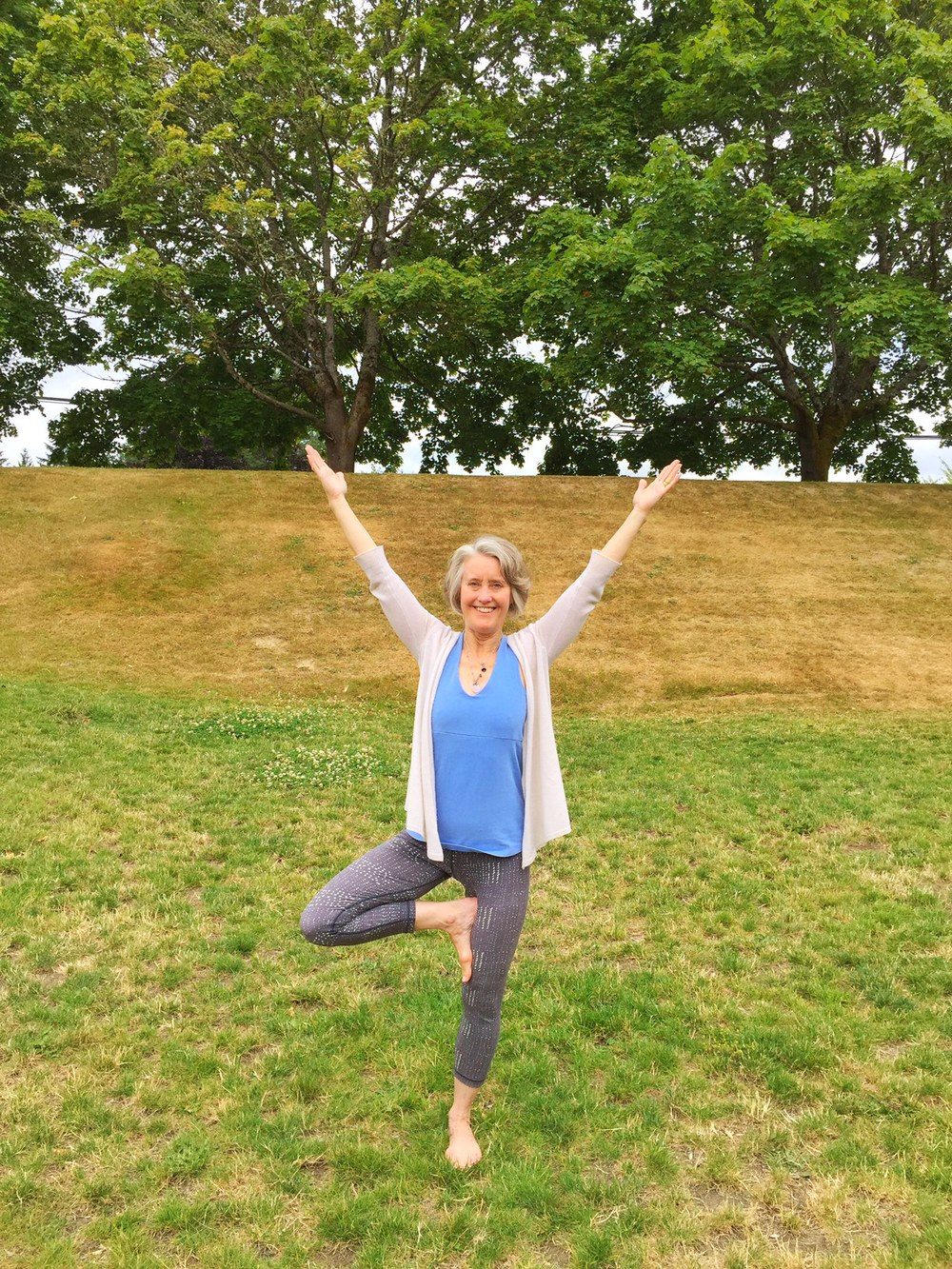 Tree pose has always been one of my favorite poses, and this time of year it feels especially fantastic to do it outside. Try it – there's nothing like it to help you feel grounded and connected to the earth.