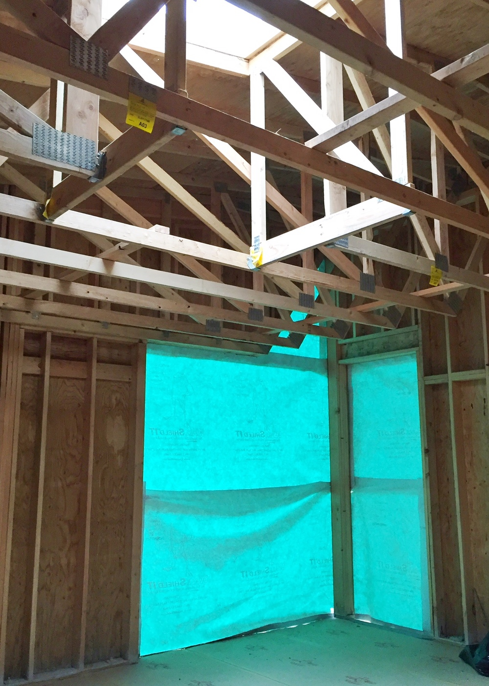 Northeast corner, which will be a large sliding glass door and window, letting in lots of natural light.