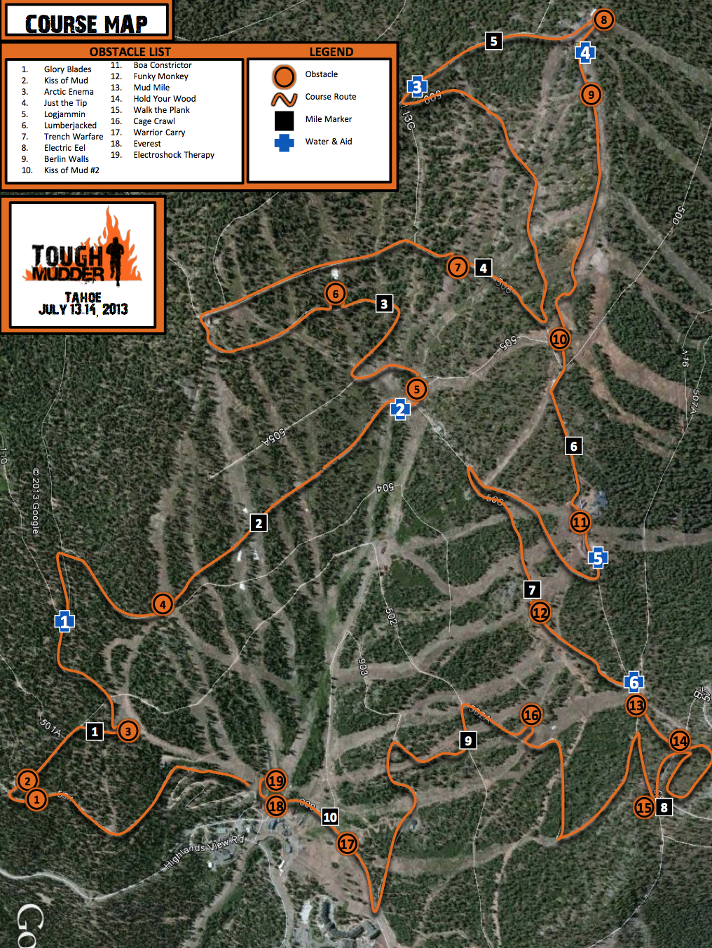 Tough Mudder Tahoe Summer 2013 map