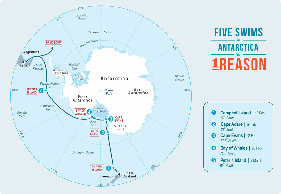 A map of Pugh's five swims for Antarctica (from his website)