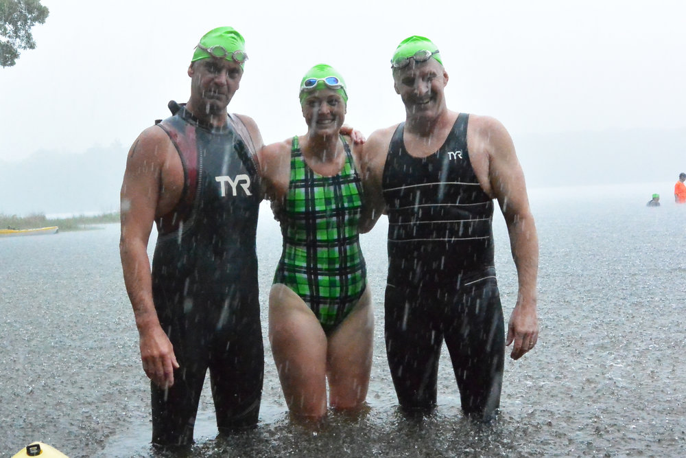 2017 Narrow River Turnaround Swim first place finishers (L to R) Stuart Cromarty, Diane Leith Doucett, and Matt Gilson. Photo credit: Frank McQuiggan