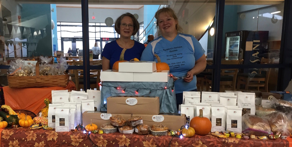 Thanks to UVRay teammates Sue Gray (left) and Susan Reid (right), no one goes home hungry from Leaf Peepers.