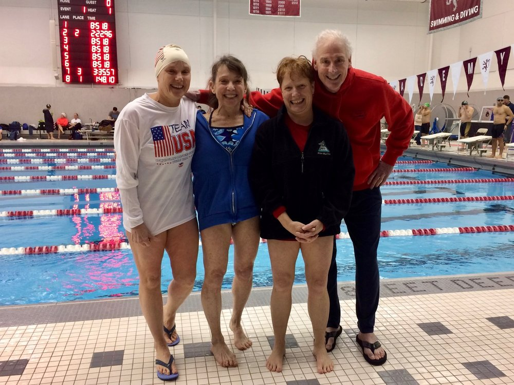 Sue Jensen, Rozann Kraus, Margaret Muse (in her first ever masters meet!), and Dan Epstein