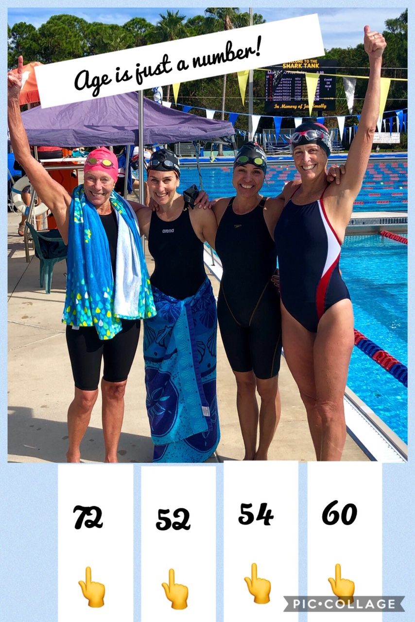 Diann Uustal, Andi Freedman, Lisa Zraket, and Beth Lott at the Sarasota Sharks Master Meet