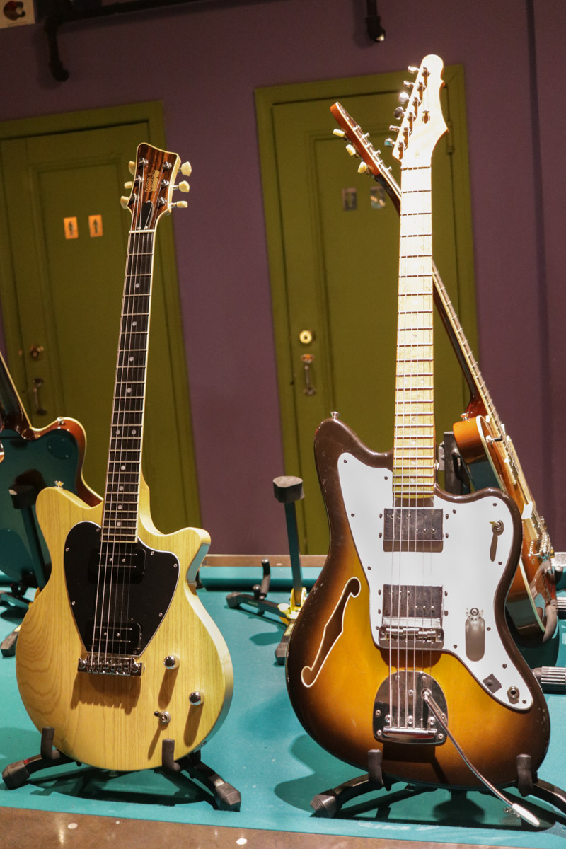 Eleanor Friedberger's Koll Superior (left) and a Koll Custom Jazzblaster made for Lee Ranaldo. Both guitars are circa 2004.
