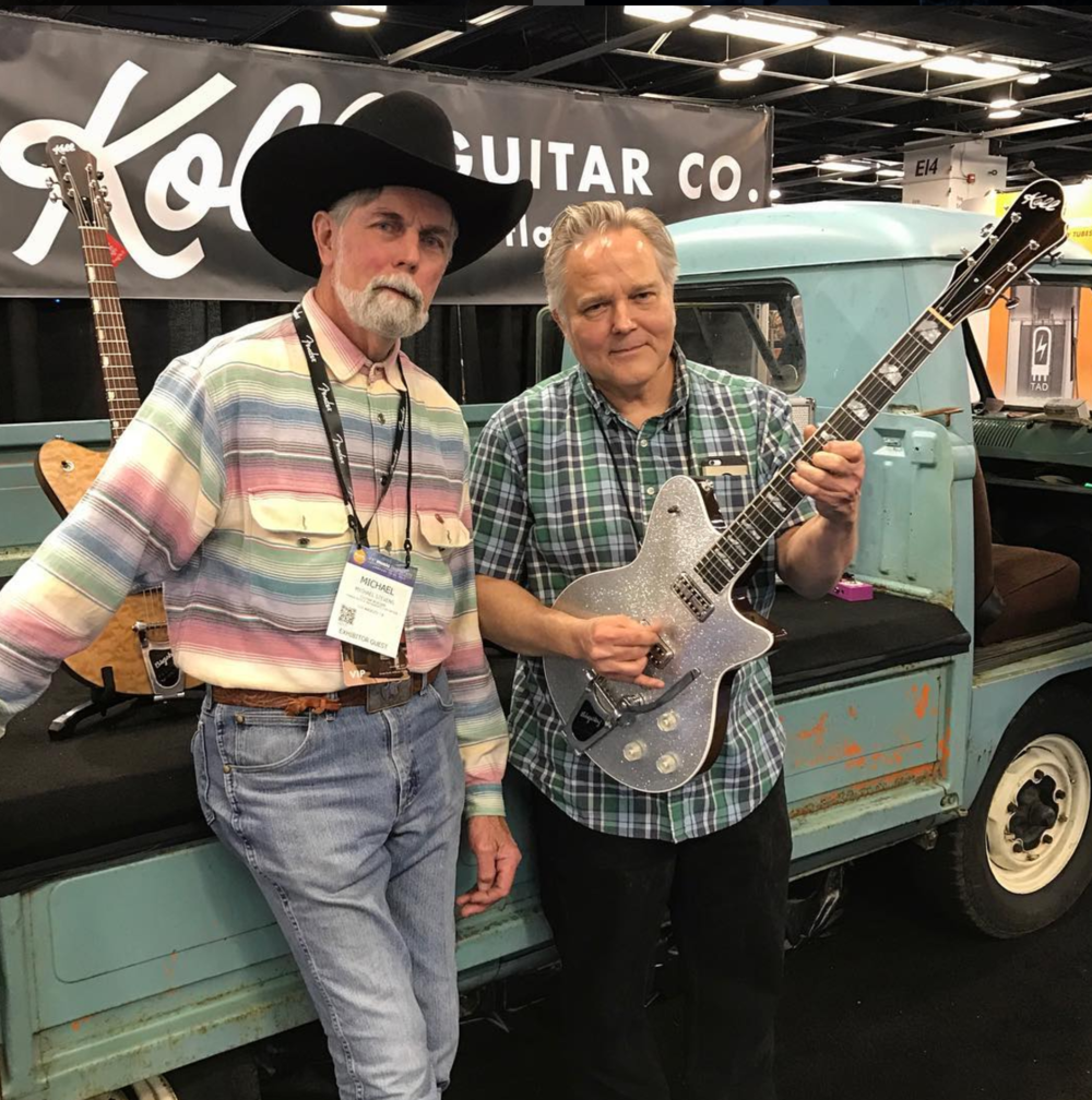 Saul and legendary guitar maker Michael Stevens