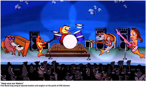 Fish Band characters pictured from left to right: Peter Tuna on Piano, Rock Bass, Freshwater Drums, Walleye and Pretty Perch.
