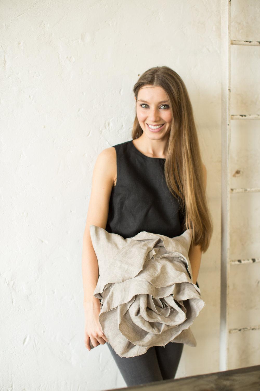 Irish Designer-Maker Katie Larmour of Katie Larmour Design, Luxury Irish Linen Brand, Award winning signature 'Rose' cushion photographed at Conway Mill Belfast.jpg.jpg