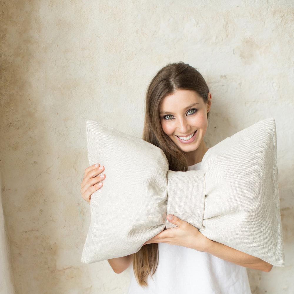 small res - Irish Designer Katie Larmour Signature Bow Cushion in Irish Linen.jpg