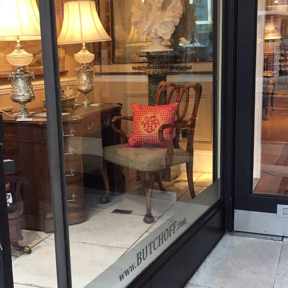 Katie Larmour Design Vintage Antique Couture Cushions Butchoff Antique Shop Kensington London1.JPG
