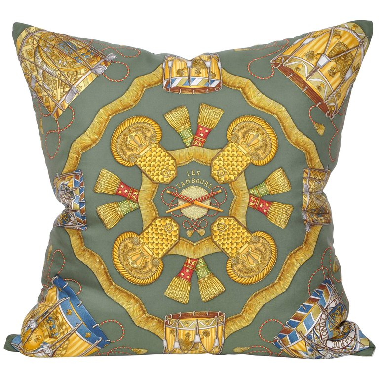 Katie Larmour Design, Couture Cushions, Vintage Hermes Silk Scarf Backed in Pure Irish Linen. .jpg
