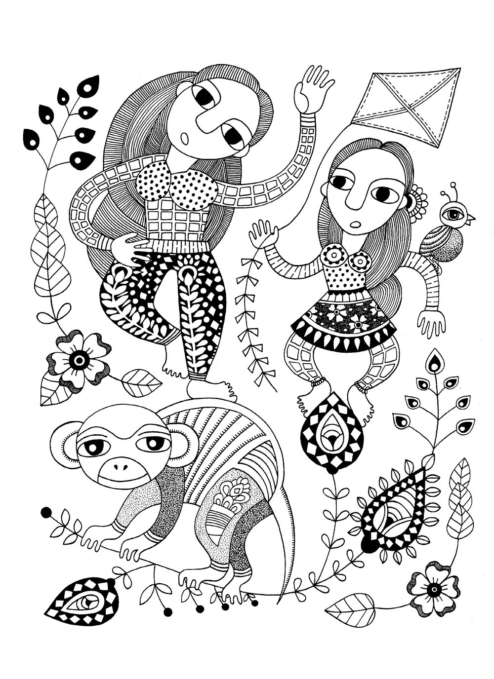 Two Girls, a Monkey, a Bird, and a Kite