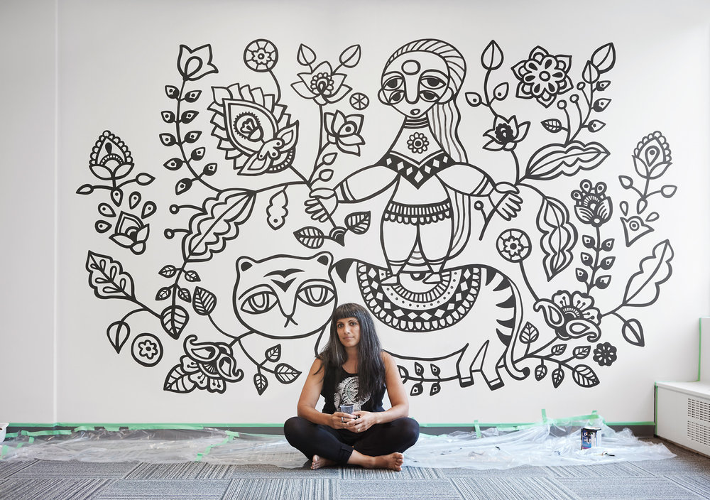 Untitled, The Profile Co-Working Business Club, 535 Thurlow Street, Vancouver, 2017 This mural was created through the Thrive Art Studio Mural Residency Program. Photo credit: Laara Cerman