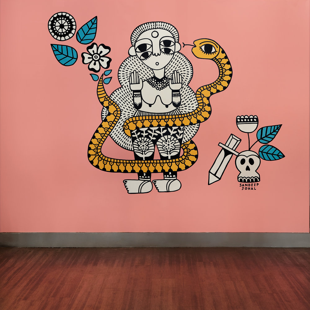 Untitled, Kafkas Coffee and Tea, 2525 Main Street, Vancouver, 2018 This mural is based off of a drawing. Both were created specifically for the show, Friend or Foe, at Kafkas Coffee and Tea. Photo credit: Laara Cerman