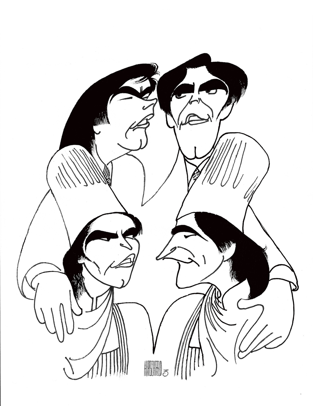 The Bitici Brothers are featured in this caricature by Al Hirschfeld in The New York Times on June 6, 1985. (3 Nina's)
