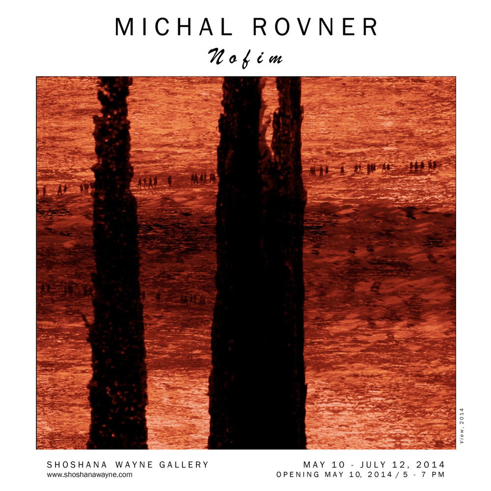 OPENING TOMORROW:     MICHAL ROVNER    Nofim    May 10-July 12, 2014  Reception May 10, 2014 5pm-7pm       Shoshana Wayne Gallery is pleased to present  Nofim , a new exhibition by Michal Rovner.    This is the artist's third solo exhibition with the gallery.    Working in video, sculpture, drawing, photography, painting, sound, and installation, Rovner begins with reality and creates situations that illuminate themes of change and the human condition.         With imagery taken from Israel, the landscapes and figures are at once familiar and foreign, calming and disconcerting, personal and political.    The figures sway and move yet they do not escape the scene.    The scenes are ambiguous enough as to refuse definitive identification yet they are familiar enough as to evoke deep visceral connections.              The power of Rovner's work rests in her ability to evoke visceral responses to her art.    Her landscapes are stripped down, fragmented, and homogenized in such a way that they could be almost any mountainside, desert, or ocean.    The human figures are abstracted so as to blur distinctions not only between male and female but also between nationalities –humanity in its most essential form.     The cypress trees that are central in this particular body of Rovner's work, have varied and rich cultural significance worldwide.    In the Mediterranean region, it is one of the most ancient trees with scholars noting its presence in biblical writings.    In Greek and Roman culture, the cypress symbolizes mourning and hope.    For Rovner's purposes, it is not the cypresses inscribed meanings that are significant, but it is the fact that they exist in the landscape.    They are tangible and real marks that either cut or mend a particular scene and the ways they move in Rovner's work insist upon fluctuation and instability.         In the main gallery, there are two projections.    On the East wall  Current  is projected onto a painted surface.    On the West wall  Broshei Layla  is projected onto eleven slabs of black limestone.    While each slab is individually cut, the imagery projected onto them connects each piece while at the same time underscoring their separateness.    In this way Rovner subtly shifts the viewer's attention from implications of archaeology to geopolitical divisions/fragmentations.          In the smaller gallery, there are five of Rovner's screen works each composed of LCD screens, video, and Japanese paper.    These works present barren and ambiguous landscapes, cypress trees and occasionally human figures.         Michal Rovner was born in Tel Aviv, Israel.    She lives and works in New York and Israel.    Her work has been exhibited extensively worldwide in over 50 solo exhibitions, including exhibitions at prestigious venues such as the Israeli Pavilion at the Venice Biennale,    Living Landscape    (2005) at Yad Vashem, Jerusalem,   the Jeu de Paume, the Louvre, and a mid-career retrospective at the Whitney Museum of Art in New York.  In June 2013, Rovner's T races of Life: The World of the Children  opened at the Auschwitz-Birkenau State Museum  .      Among many awards and honors, in 2008 Rovner received an Honorary Doctorate from the Hebrew University of Jerusalem, and in 2010, she was honored with the Chevalier (Knight) Medallion of the Ordre des Arts et des Lettres in France.      For more information, contact Alana Parpal at  alana@shoshanawayne.com