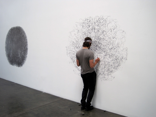 "Installation Day 2: Tony Orrico works on his second installment of his ""penwald drawings."" Another 4 hours of hard work! Go, Tony, go!"