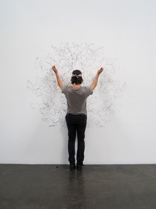 "Installation Day 1: Tony Orrico begins a 4-hour ""penwald drawing"" in the main gallery - we can't wait to see the end result!"