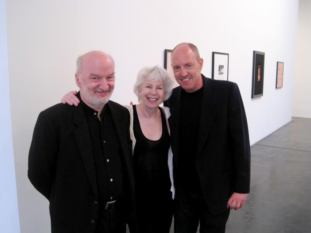 """David Frankel, Elaine Reichek & James Engel celebrate the opening of Reichek's """"Ariadne's Thread"""" - Saturday, April 2"""