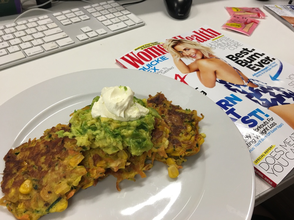 Add a fab magazine and BAM - the perfect lunch break recipe.