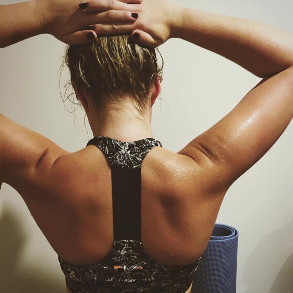sweaty back bickram yoga