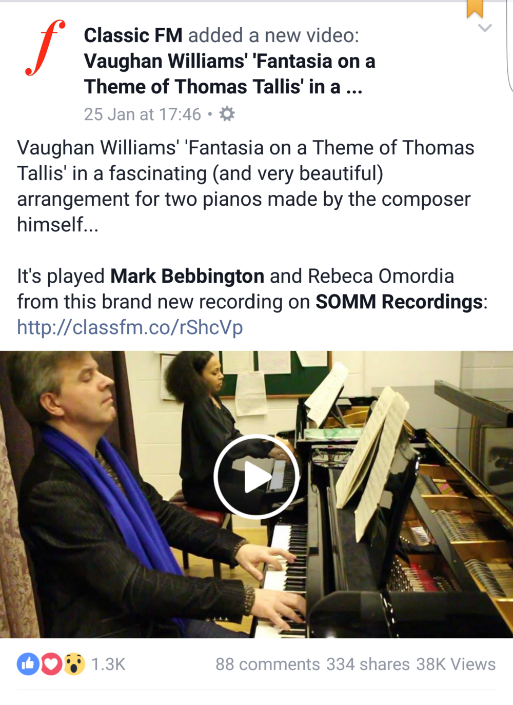 Watch rebeca and mark perform fantasia on a theme of thomas tallis on classic fm