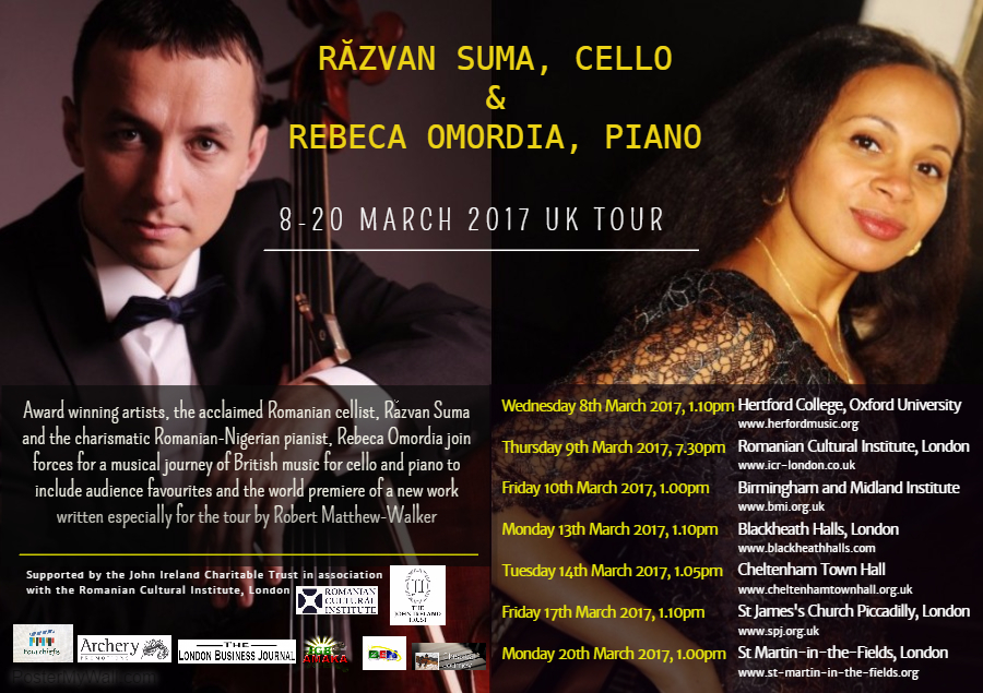 8-20 MARCH, 2017 UK TOUR - For pianist Rebeca Omordia, continuing her exploration of music by British composers has led to a UK  tour with cellist, Răzvan Suma, resident cellist and director of the Romanian National Broadcasting Orchestras. Pianist Rebeca Omordia and cellist Răzvan Suma will be touring the UK in March 2017 to showcase Sonatas for cello and piano by John Ireland and George Enescu and a World Premiere performance,