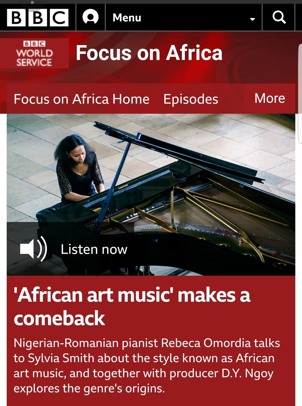Feature on BBC Africa - Sylvia Smith from BBC Africa interviews Rebeca about African classical music ahead of the start of the African Concert Series. Click link on the image to listen to the interview