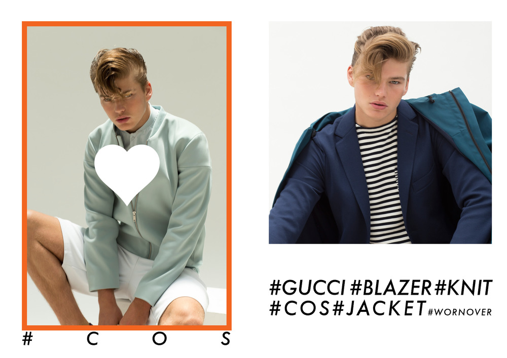Jordans wears COS jacket , Shirt, Shorts(Left to Right ) Gucci blazer and strip knit, COSjacket