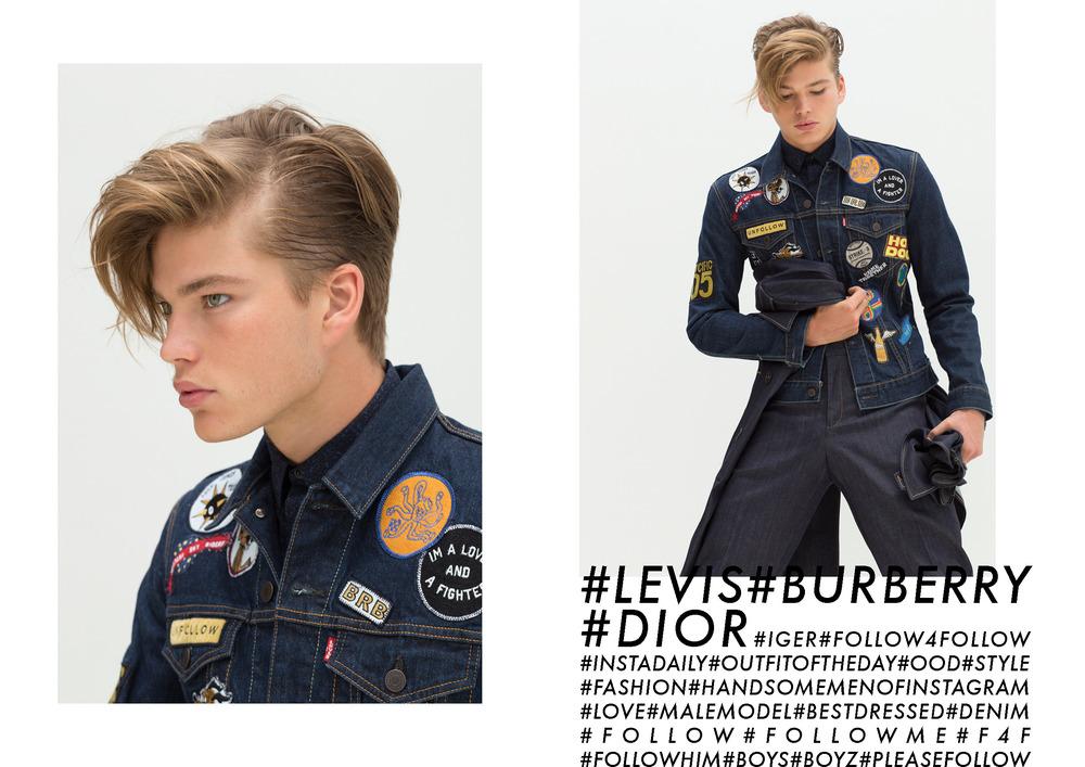 Jordan Wears   Levis   Denim Jacket with Patches ,  Dior Homme   shirt (Left To Right )          Jordan wears   Levi's   jacket . Dior Homme shirt ,  Burberry Prorsum   denim trousers,  Burberry Prorsum  trenchcoat (worn around waist)
