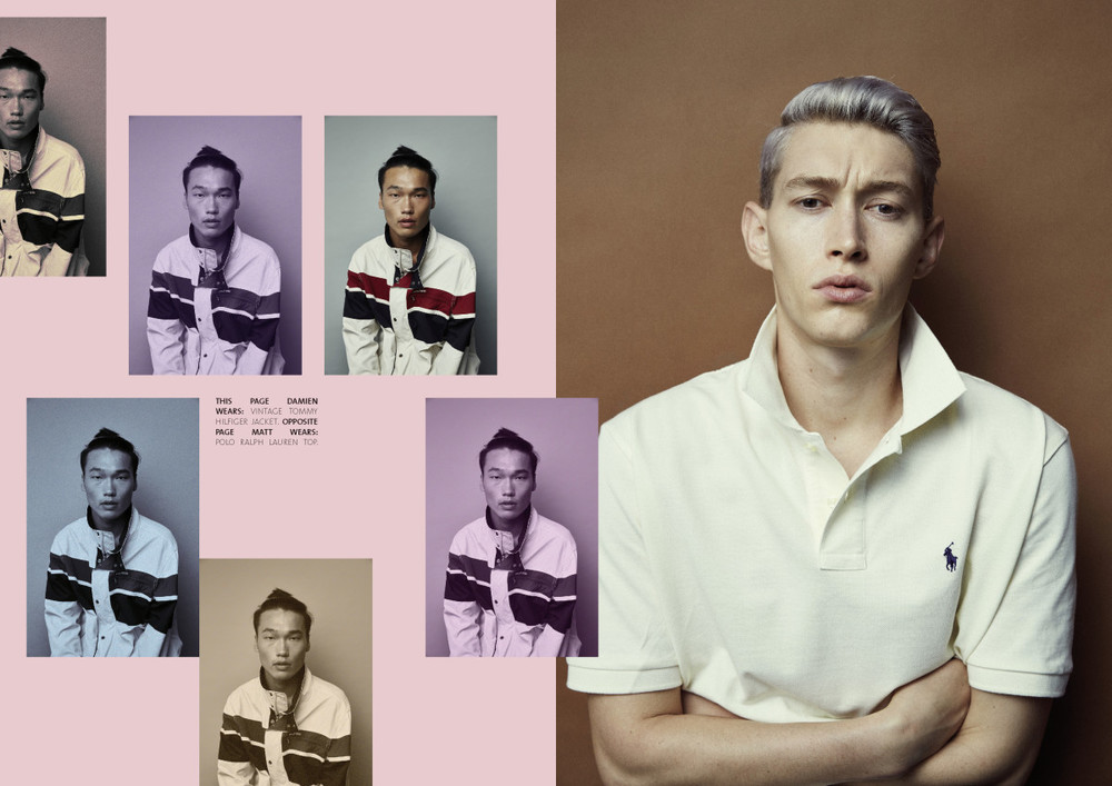 Damien @  Chic Management  wears Vintage Tommy Hilfiger jacket.  Matt @  Chic Management,  wears: Polo Ralph Lauren Top.