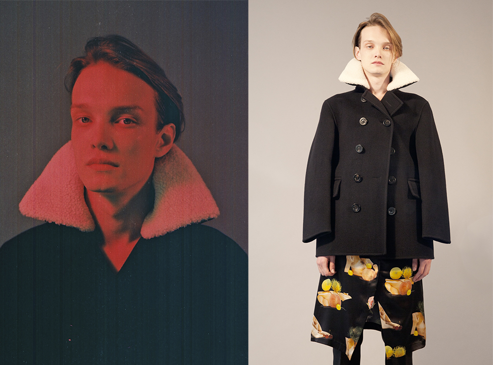 Alex Thorn wears   Burberry Prorsum   coat,   Acne Studios   skirt,   Burberry Prorsum   trousers