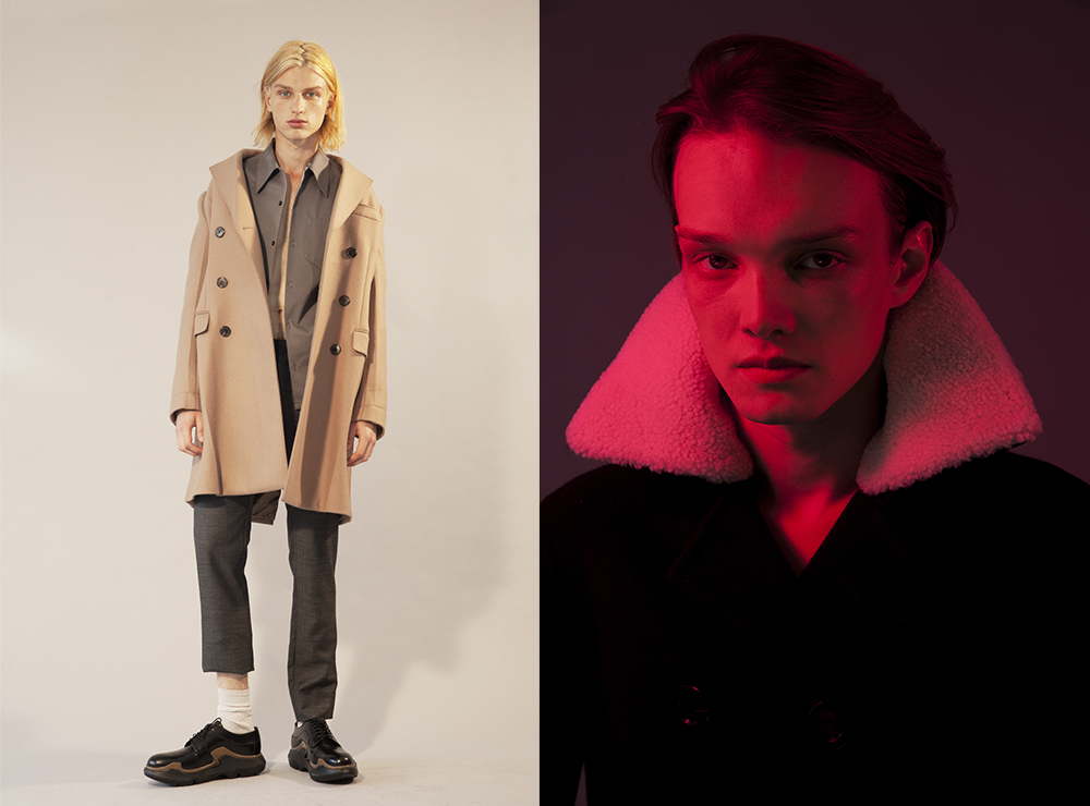 (left to right) Jimmy wears   Prada   full look    Alex Thorn wears   Burberry Prorsum   coat