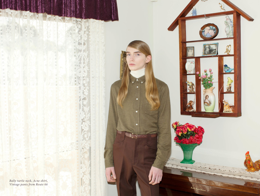 Bally   turtle neck,   Acne Studios   shirt, Vintage pants from Route 66