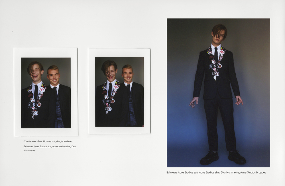 Charlie wears Dior Hommesuit, shirt,tie and vest Ed wears Acne Studiossuit,Acne Studiosshirt,Dior Hommetie,Acne Studiosbrogues