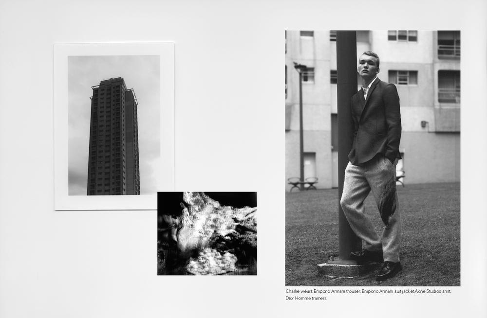 Charlie wears  Emporio Armani   trouser,  Emporio Armani   suit jacket,  Acne Studios  shirt,  Dior Homme  trainers