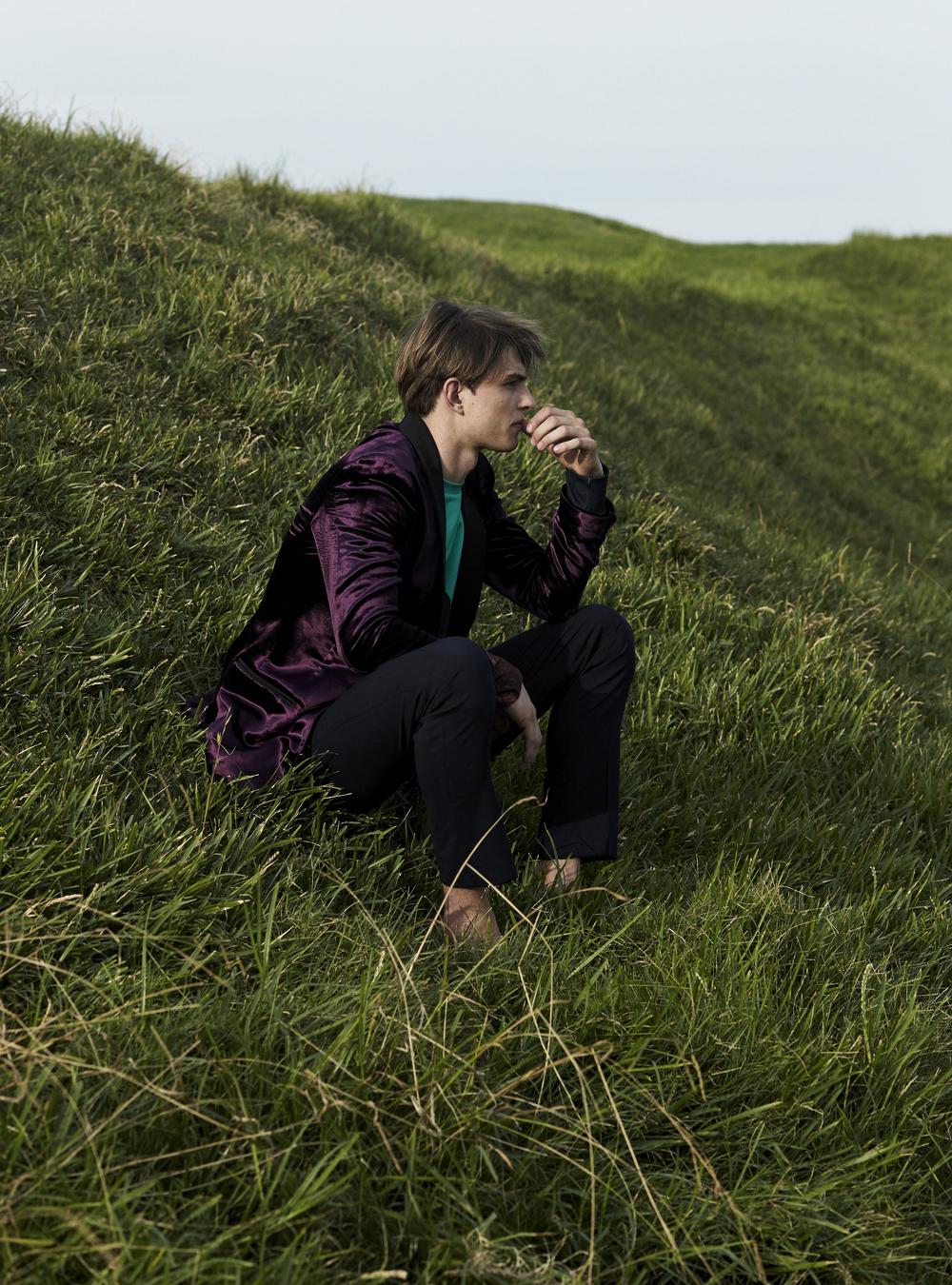 Bally velvet blazer,  Acne Studios  sweater,  Bally  trousers