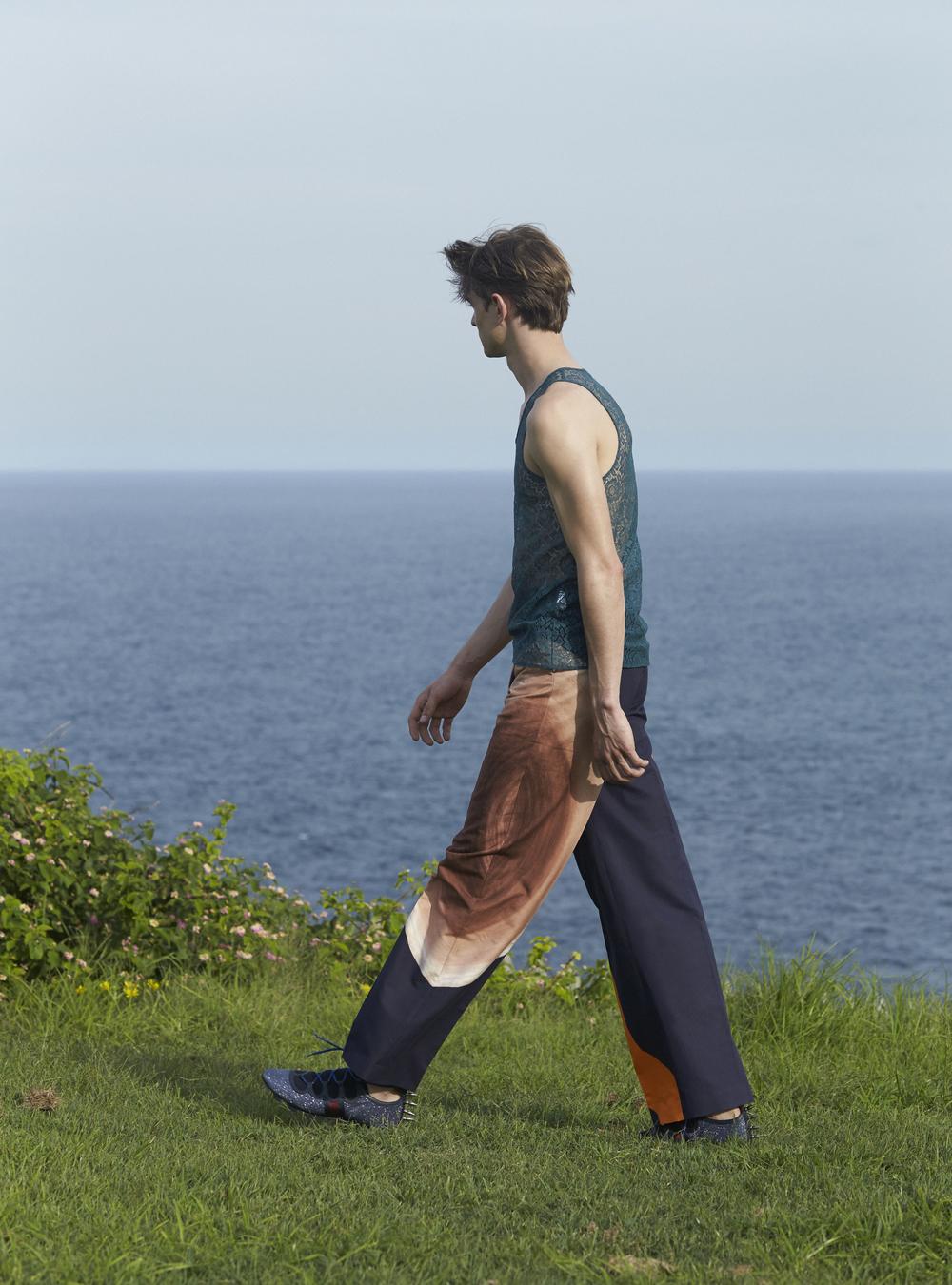 Burberry Prorsum top, Acne Studios pants, Gucci shoes