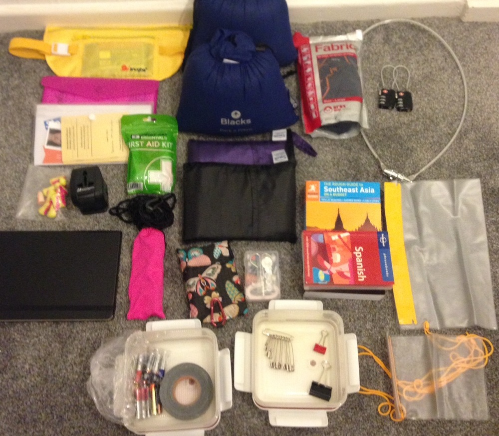 Accessories: Money belt, travel document pouches, mini first aid kit, earplugs, portable washing line, universal travel plug adapter, moleskin journal, sunglasses, 2 x travel pillows, 2 x silk sleeping bag liners, 1 x fold away bag, mini sewing kit, lots of batteries, duct tape for Sarah's mouth, safety pins, crocodile clips, anti-mosquito blanket (it works!), guide books, phrase books, padlocks, waterproof bags, tupperware boxes (to put things in you don't want to be squashed).