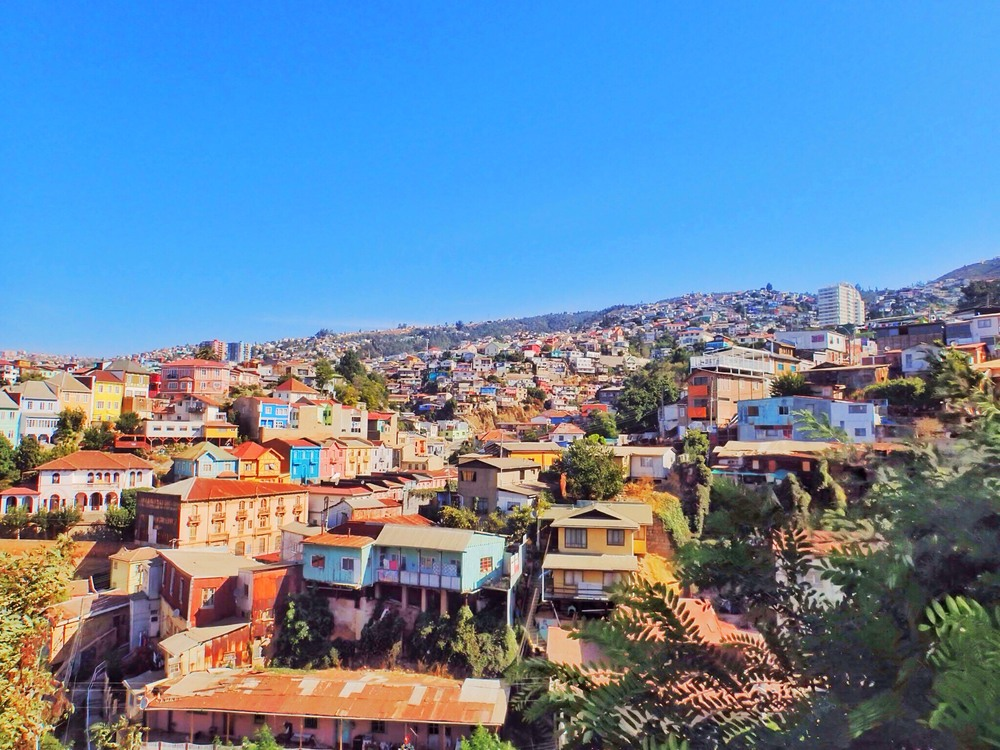 The colourful hillside houses